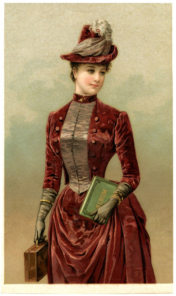 Victorian Lady Image In Velvet Dress The Graphics Fairy