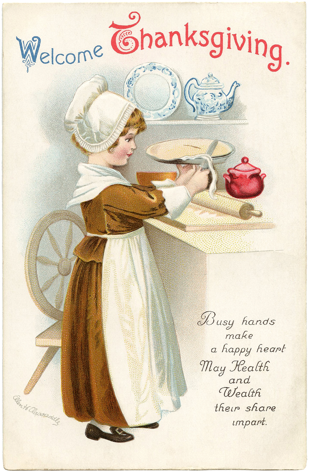 Free Vintage Thanksgiving Clip Art - The Graphics Fairy (1074 x 1643 Pixel)