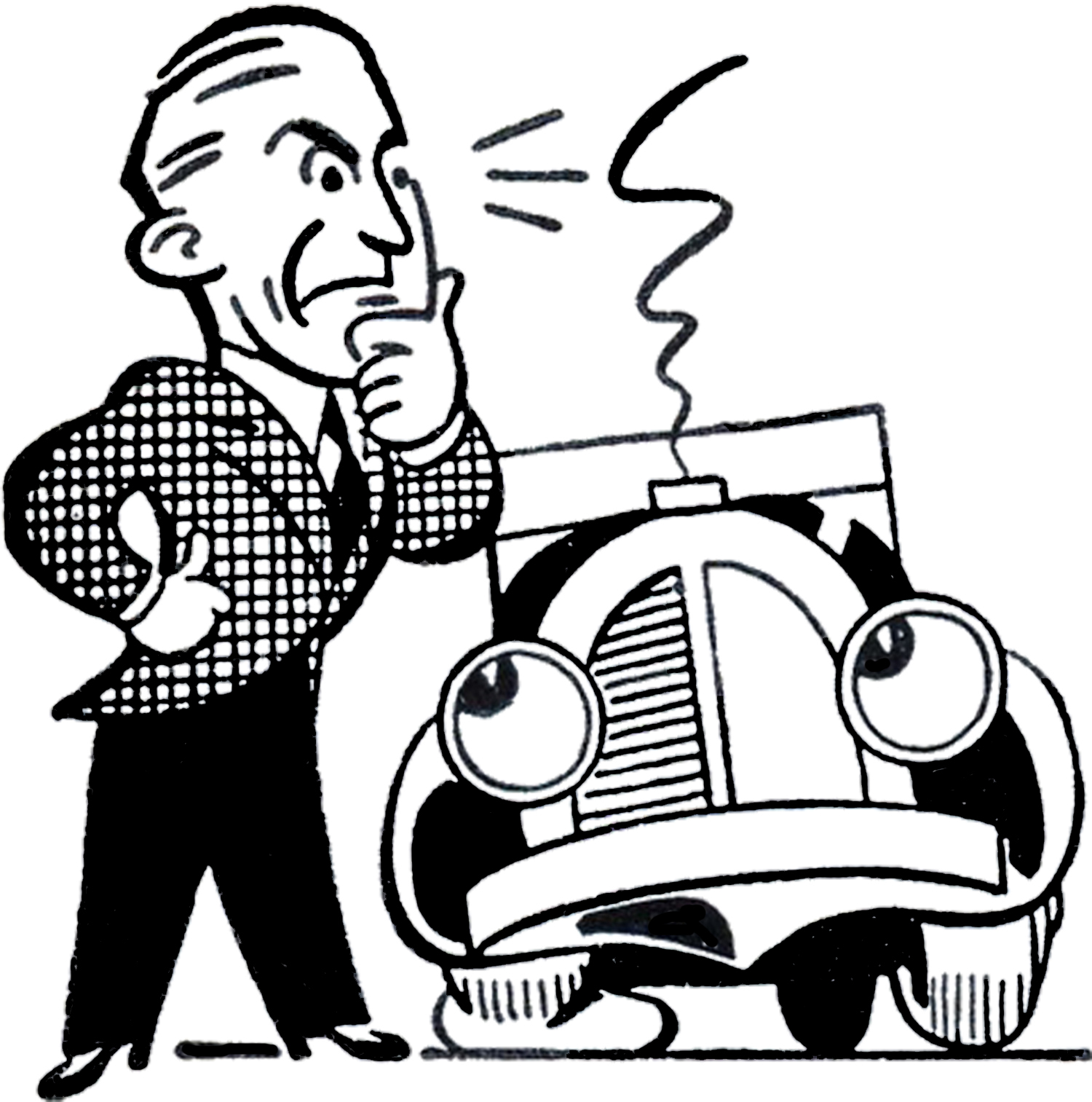 Retro Car Trouble Clip Art