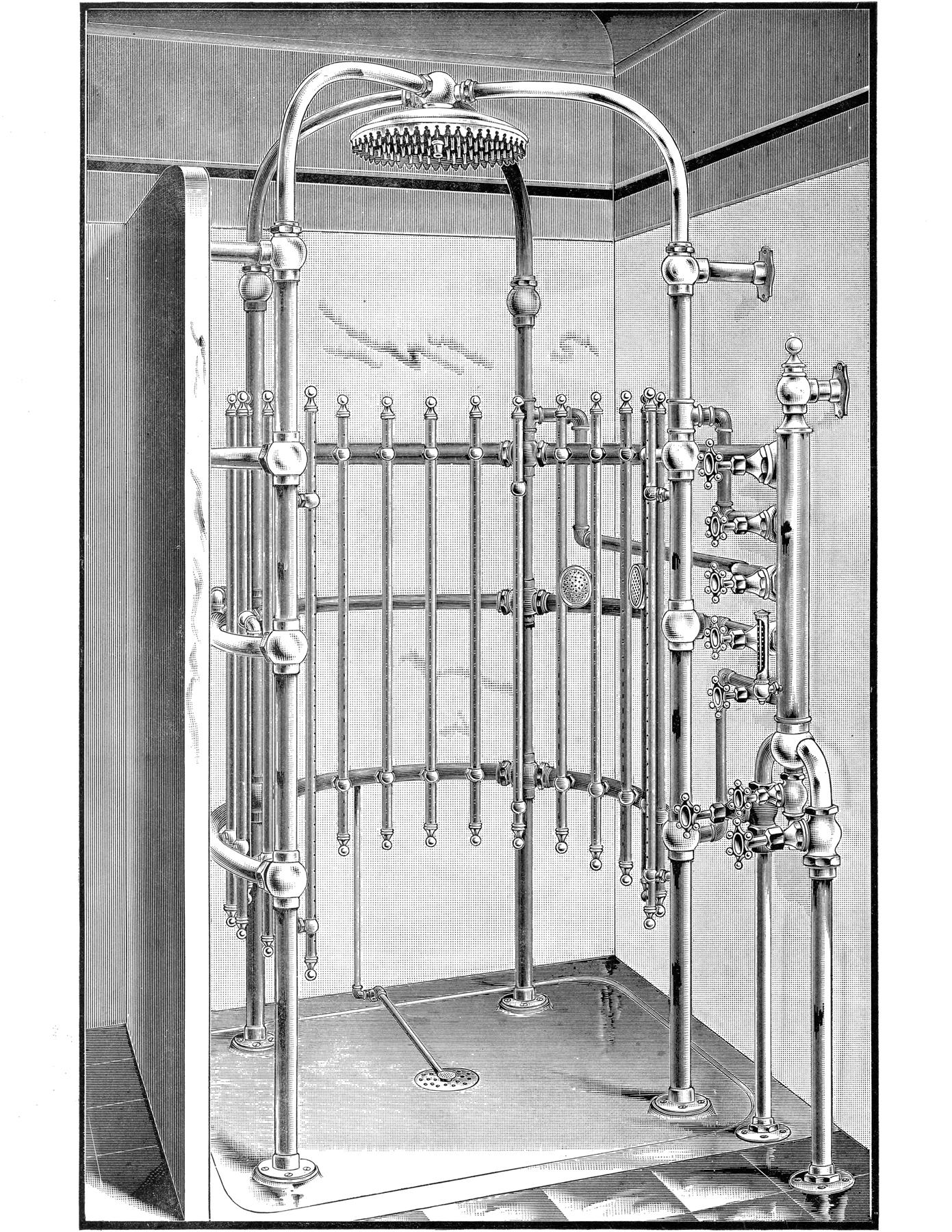Curious Antique Shower Image The Graphics Fairy