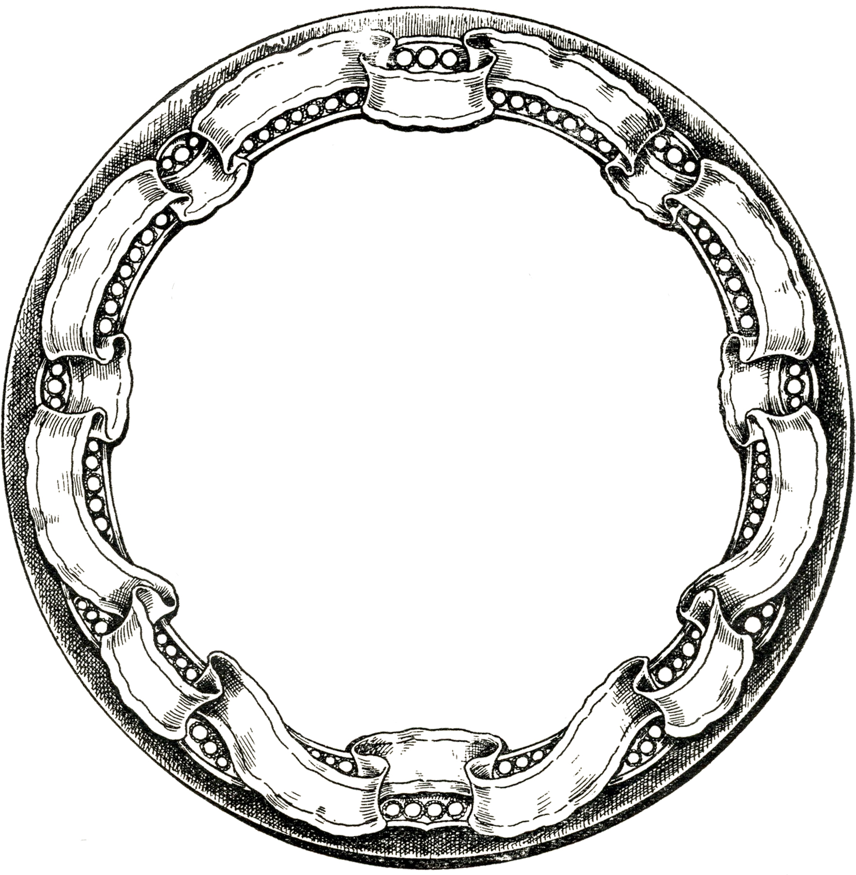 Vintage Round Graphic Frame With Ribbon Border