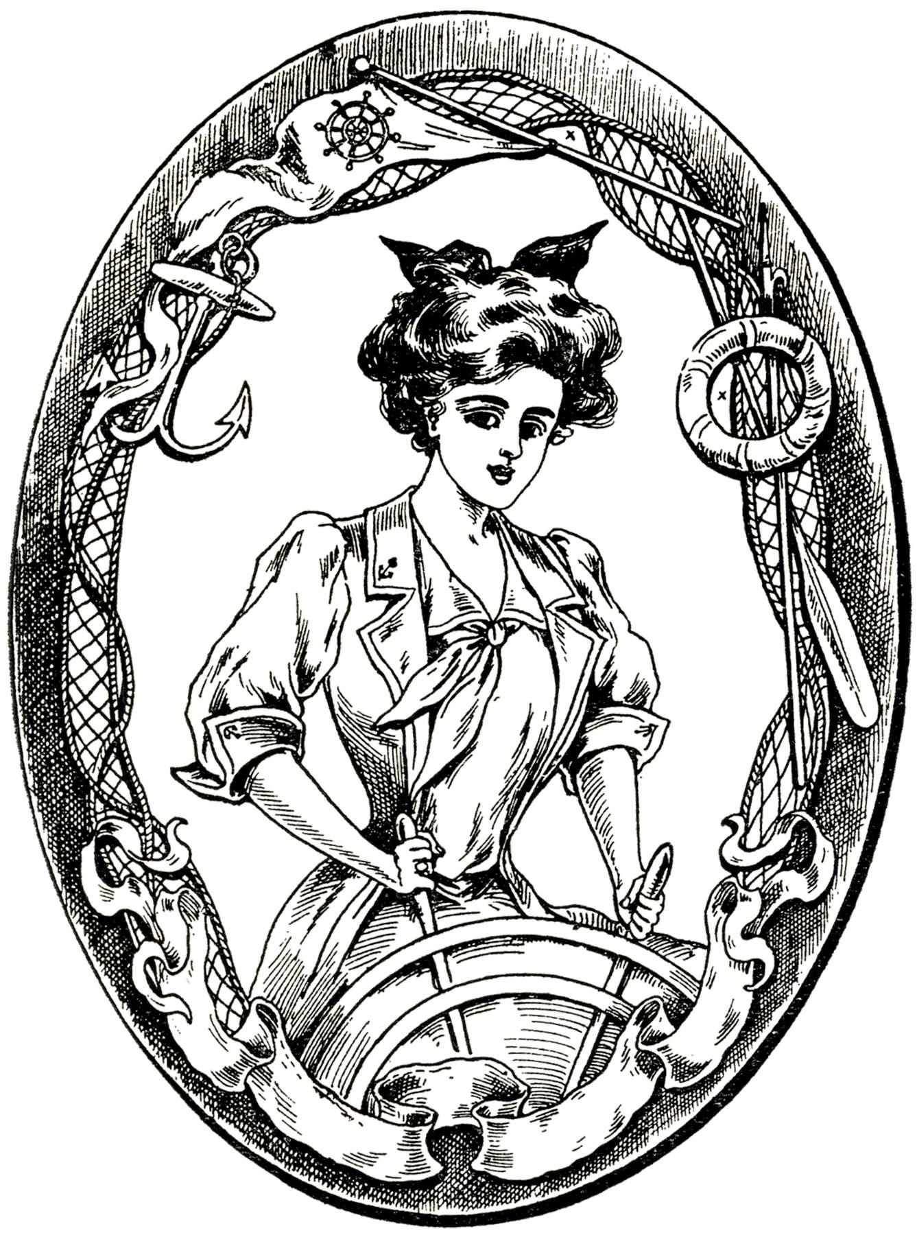 6 Vintage Sailor Girl And Boy Clip Art