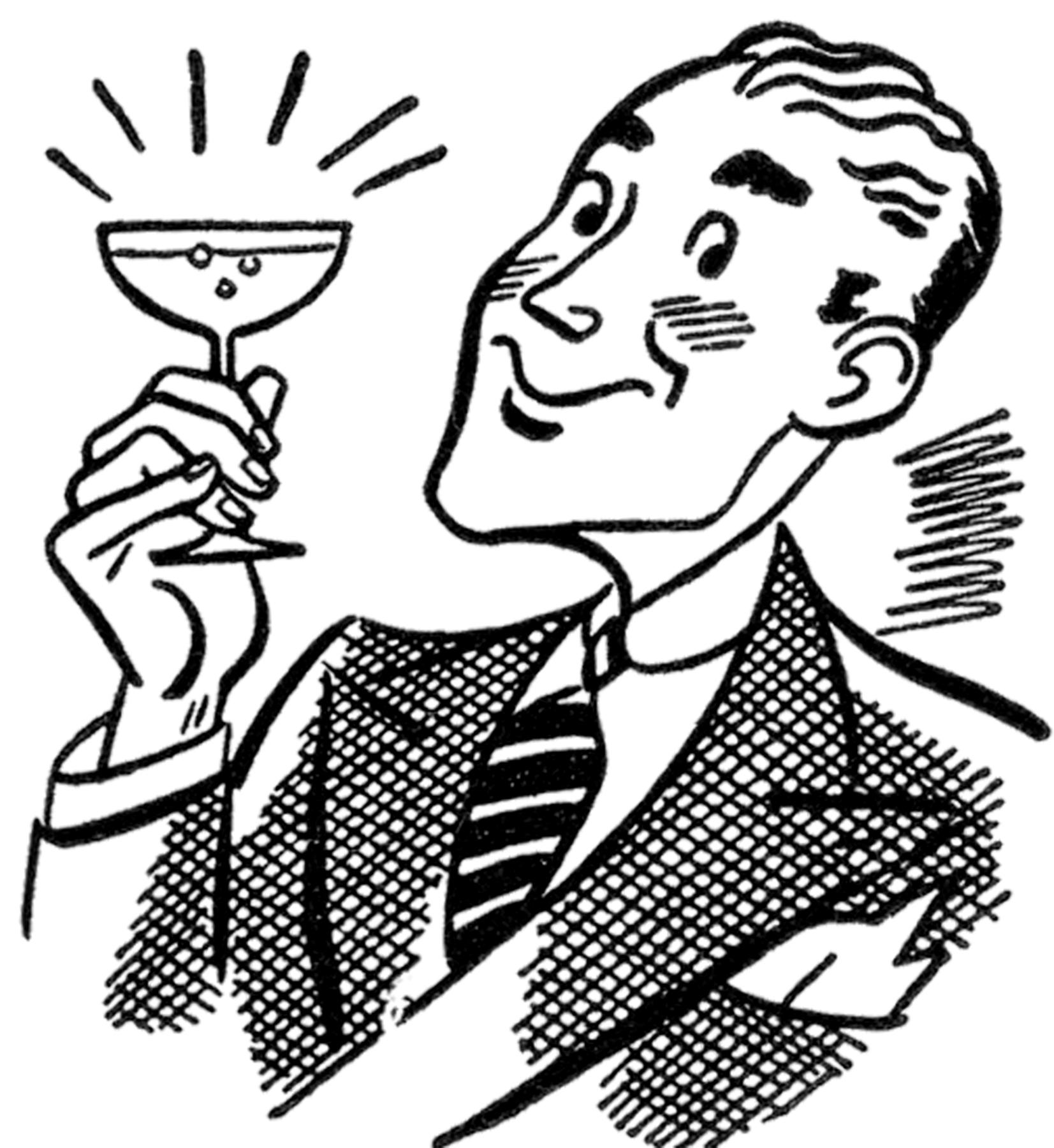 Retro Martini Man Image