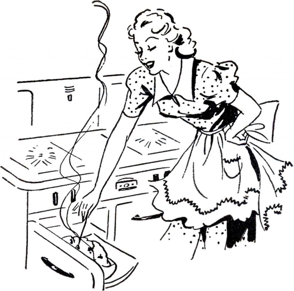 Adorable Retro Cooking Mom Image