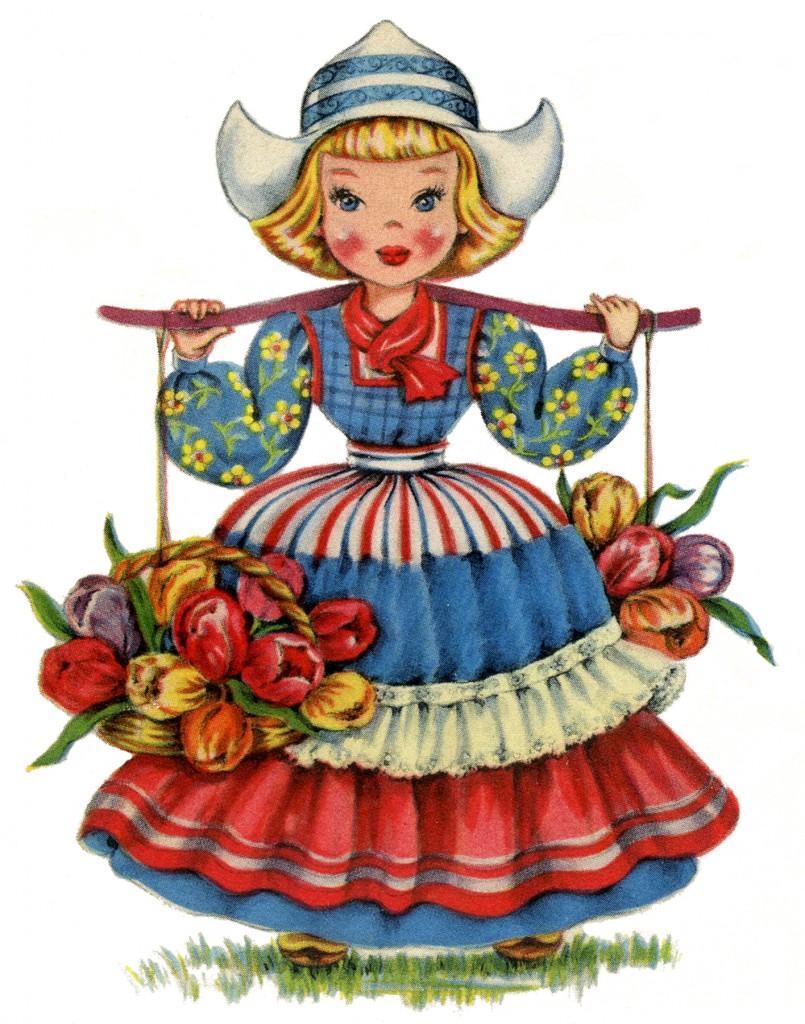 Cute Retro Dutch Doll Image The Graphics Fairy