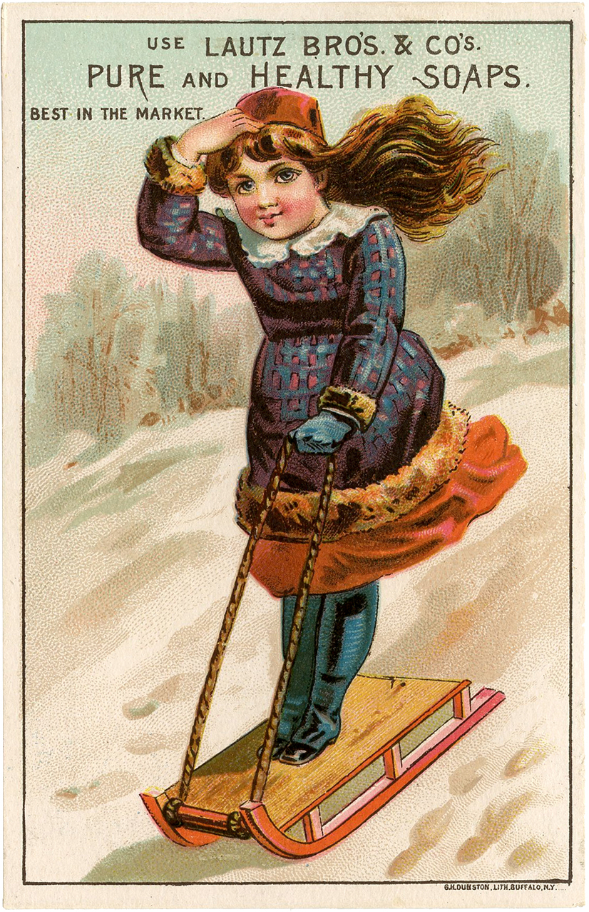Vintage Girl Sledding Image The Graphics Fairy