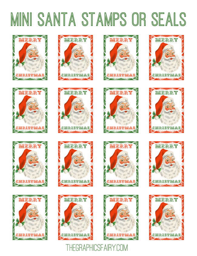Santa Stamps Seals Graphicsfairy The Graphics Fairy