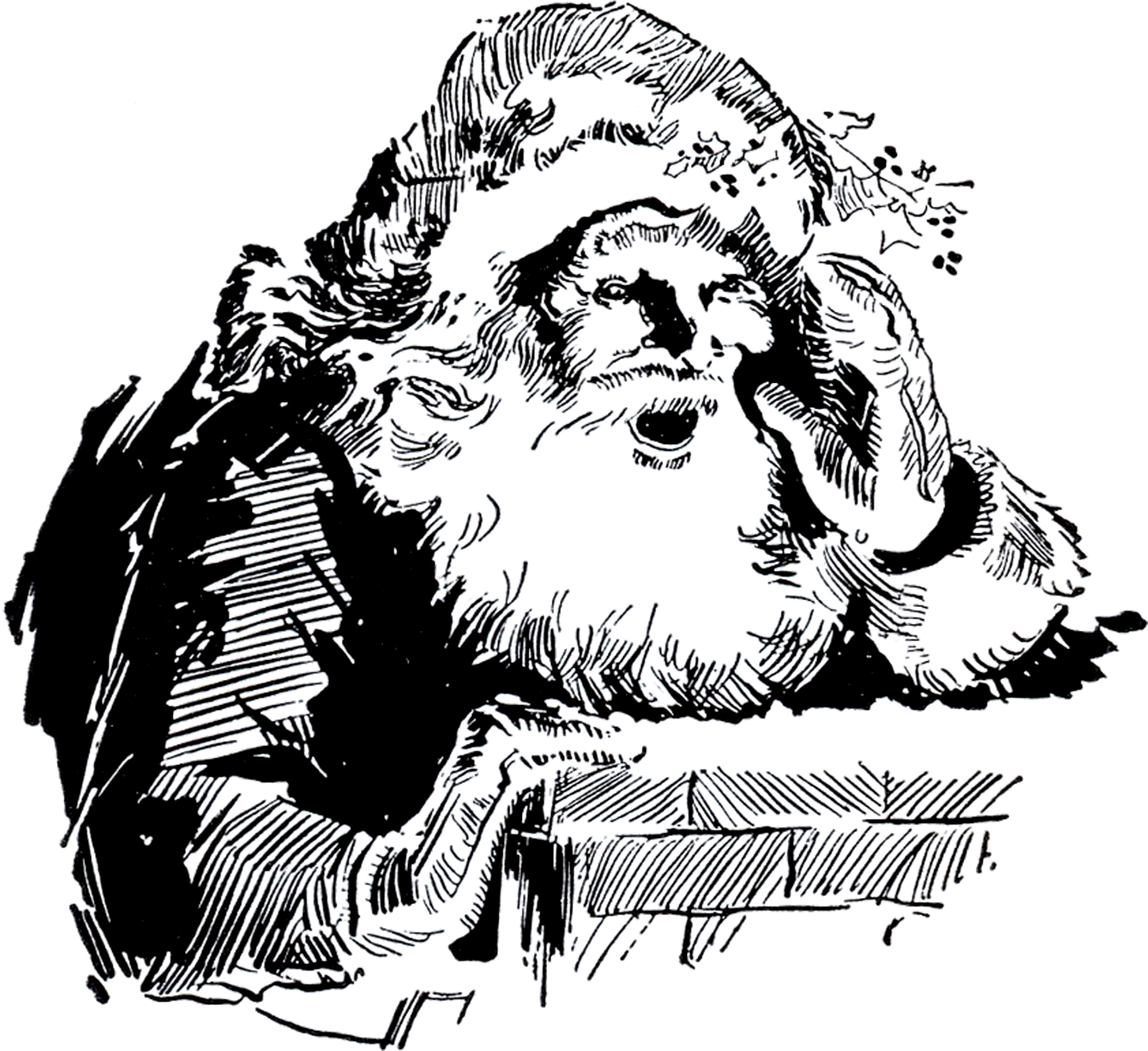 6 Santa Chimney Clipart Images