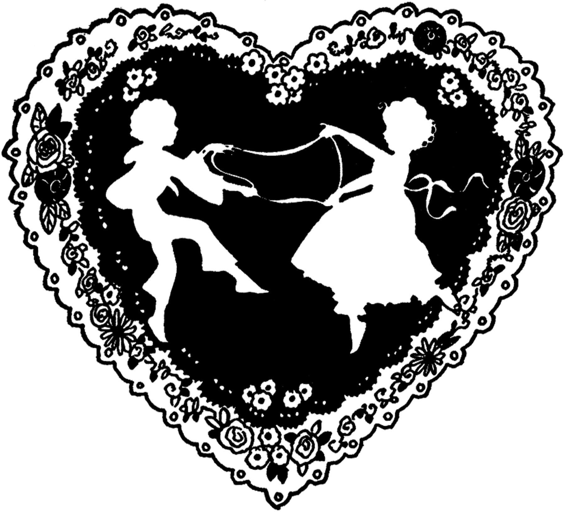 Vintage Valentine Silhouette Freebie The Graphics Fairy