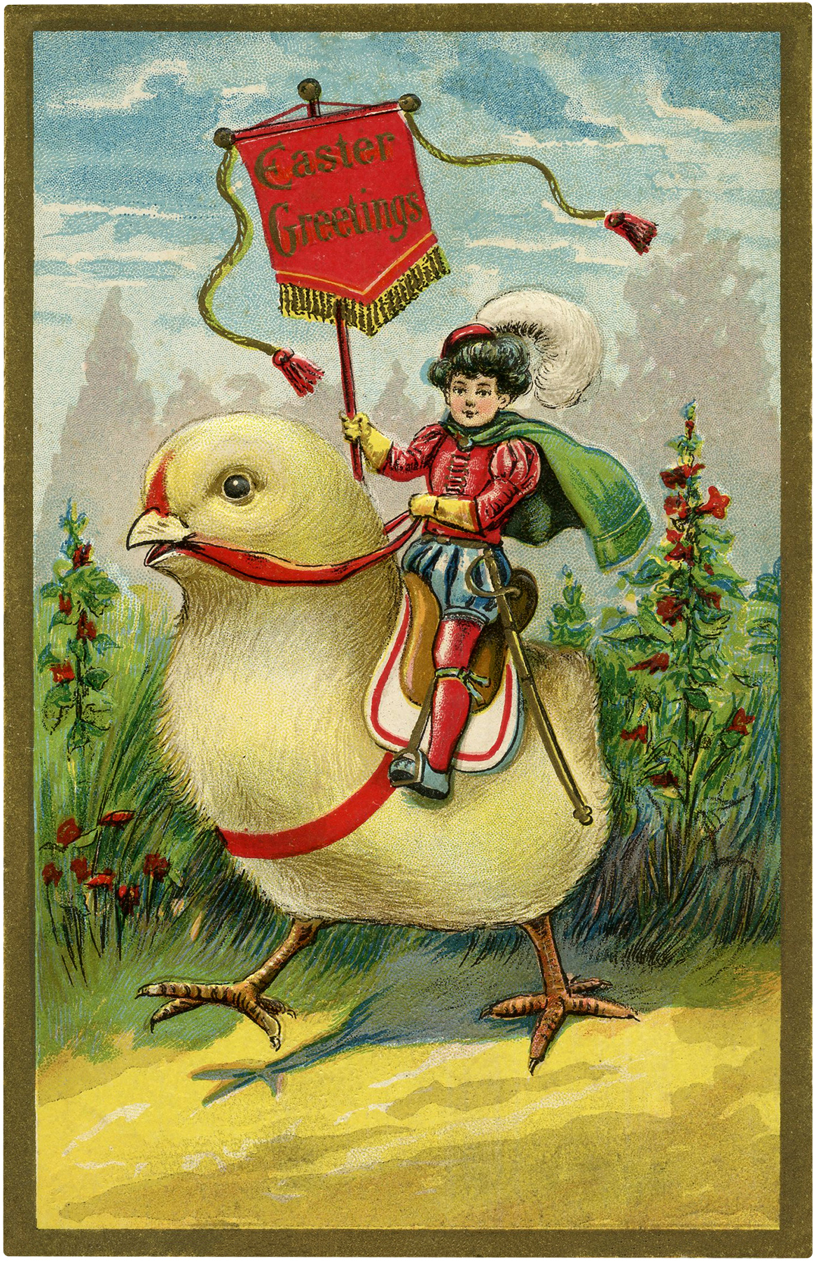 Quirky Easter Chick Ride Image The Graphics Fairy