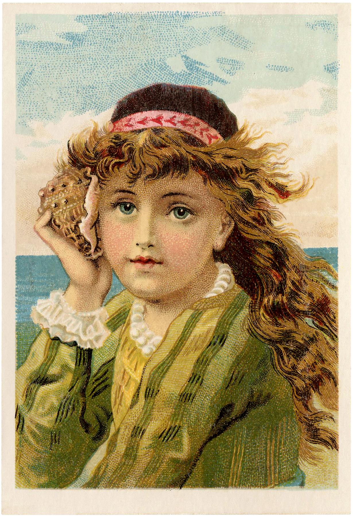 Stunning Vintage Seashell Girl Image The Graphics Fairy