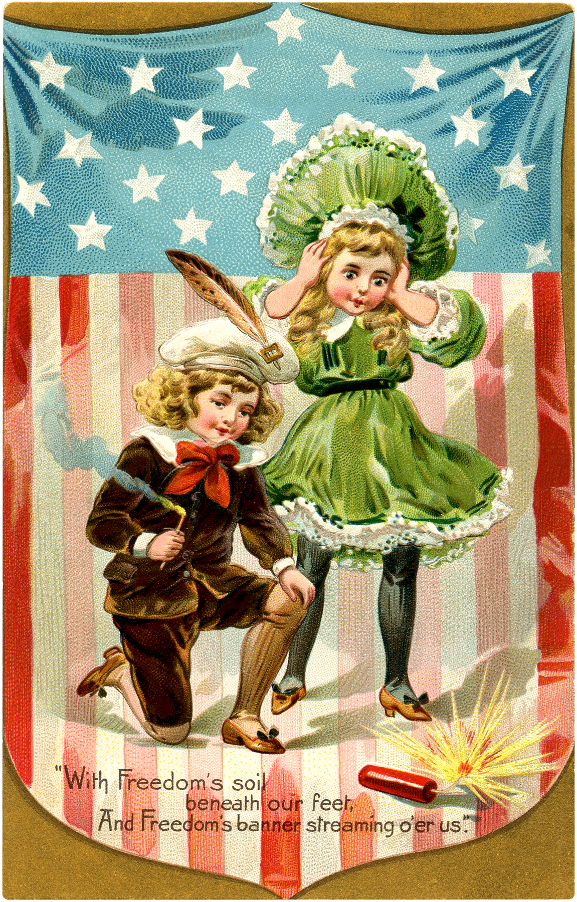 Vintage Firecracker Kids Image 4th Of July The
