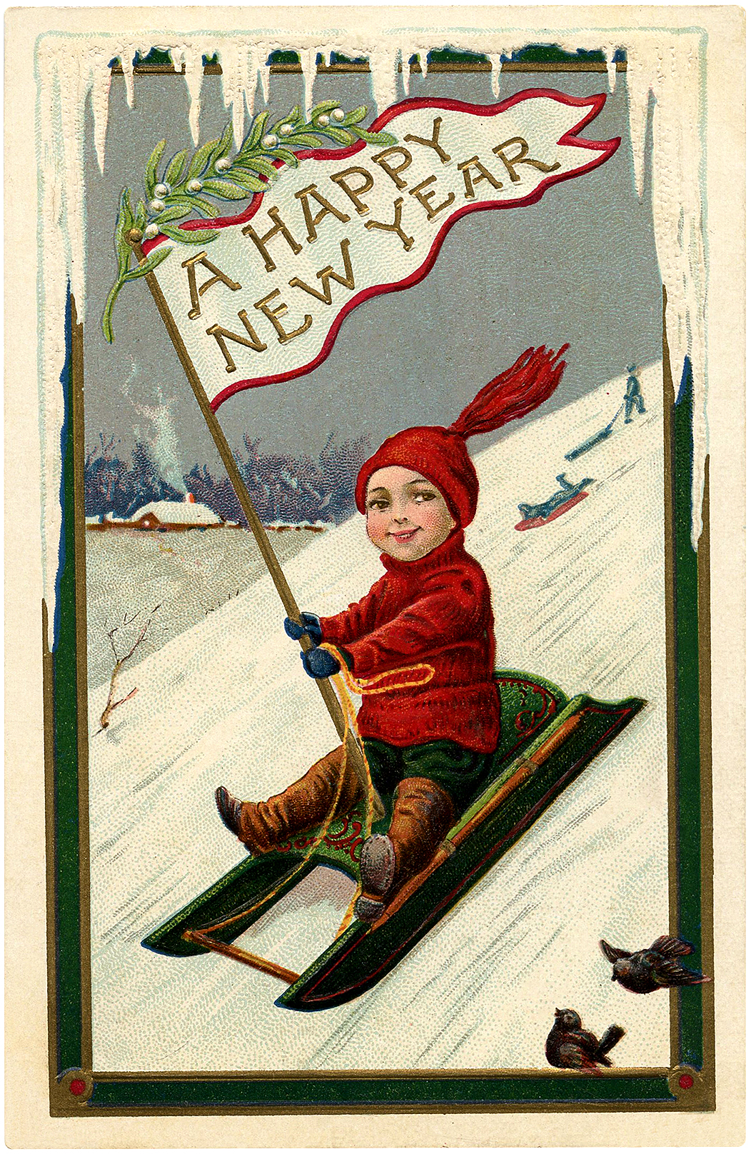 Cute Vintage New Year Sled Boy Image The Graphics Fairy