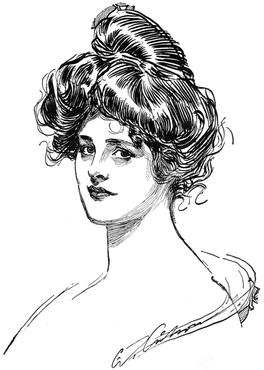 Lovely Vintage Gibson Girl Drawing
