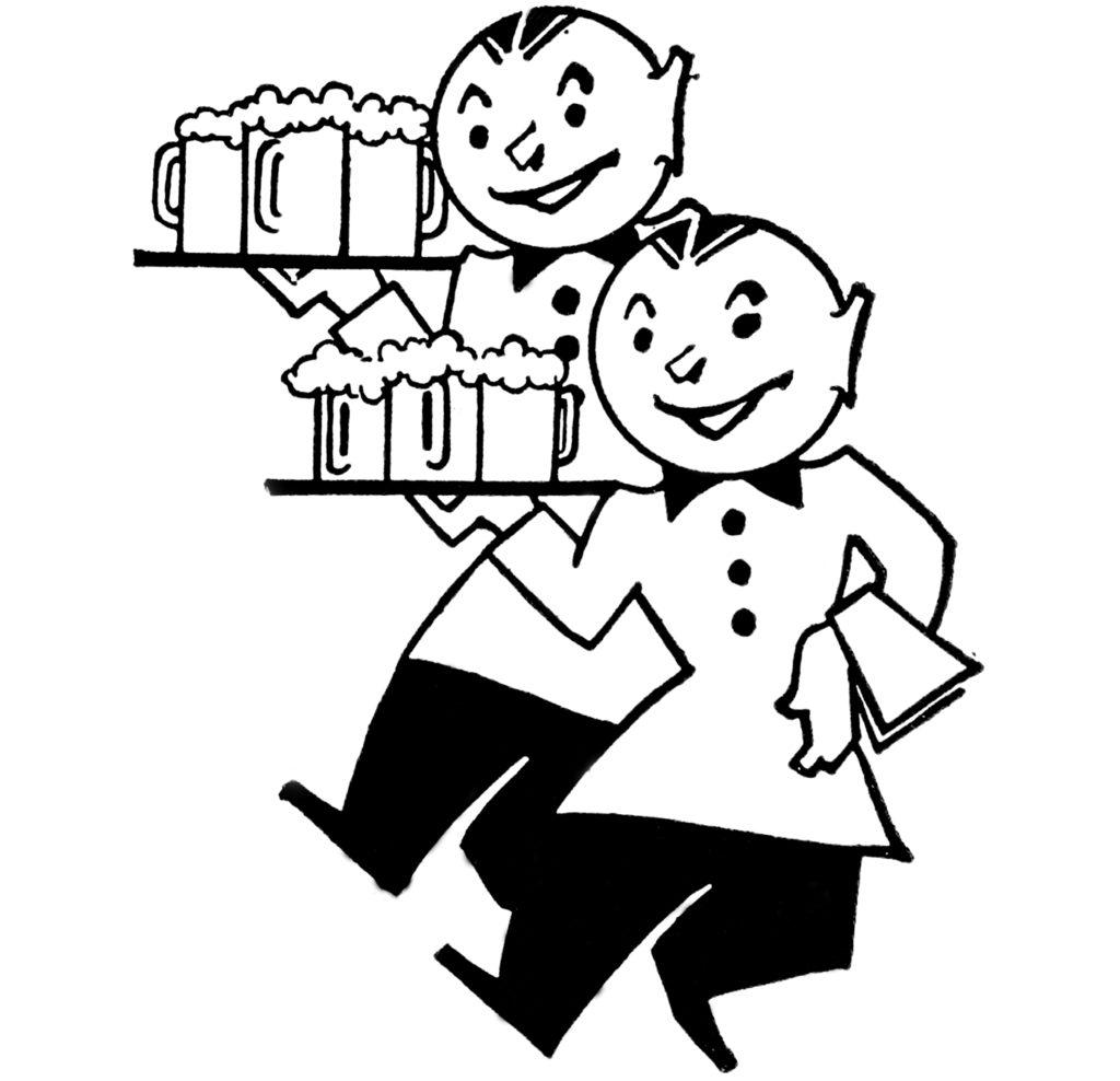 Cute Vintage Waiters With Beer Image