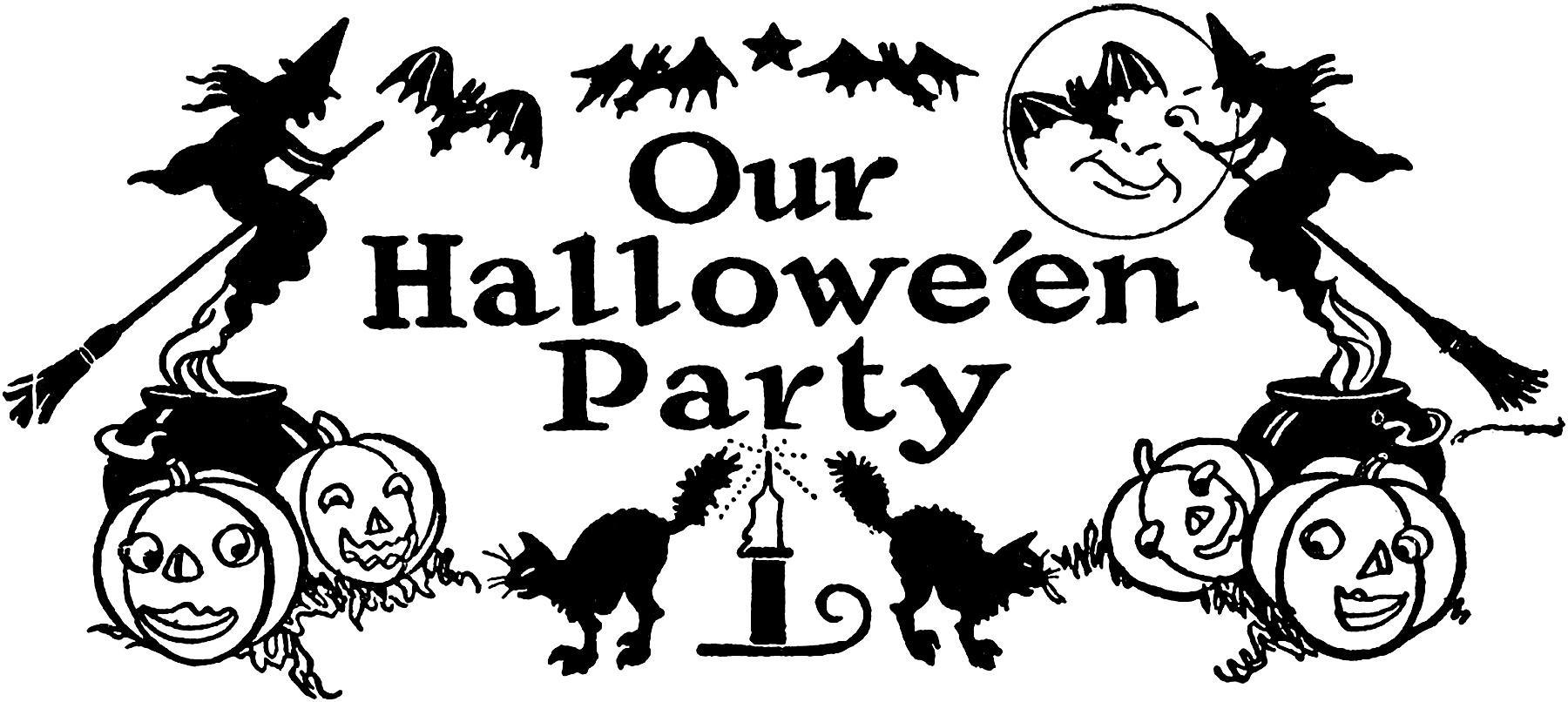 Nostalgic Black And White Halloween Party Clip Art