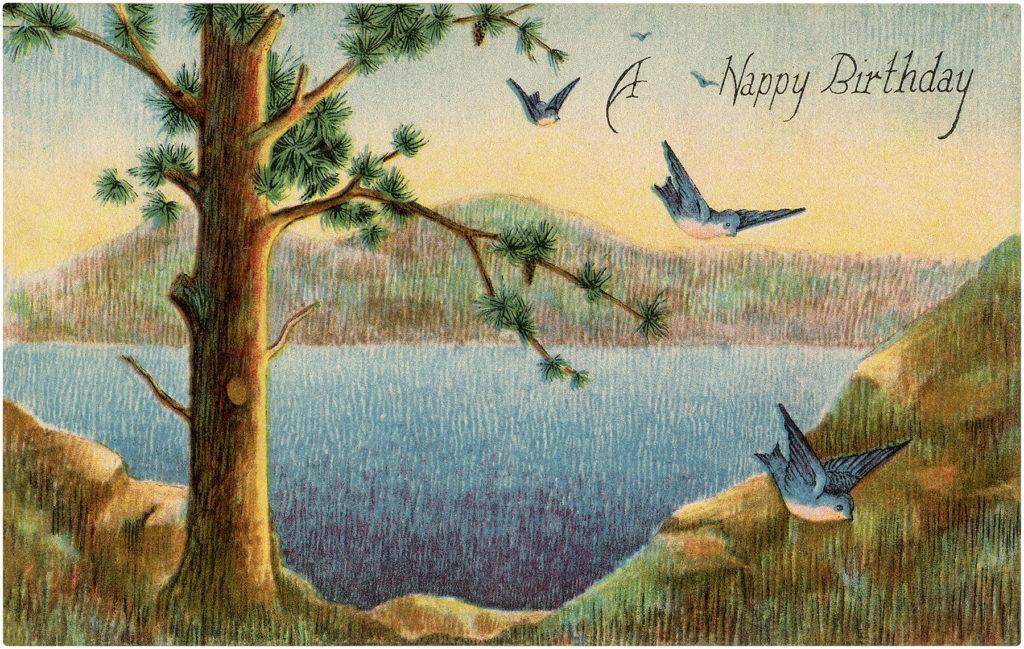 4 Happy Birthday Trees With Bluebirds The Graphics Fairy