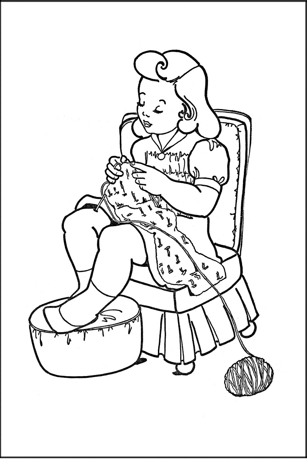 kids printable coloring page girl knitting the graphics fairy