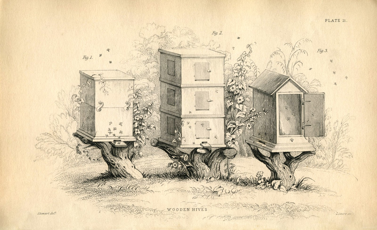 Instant Art Printable Vintage Beehives The Graphics Fairy