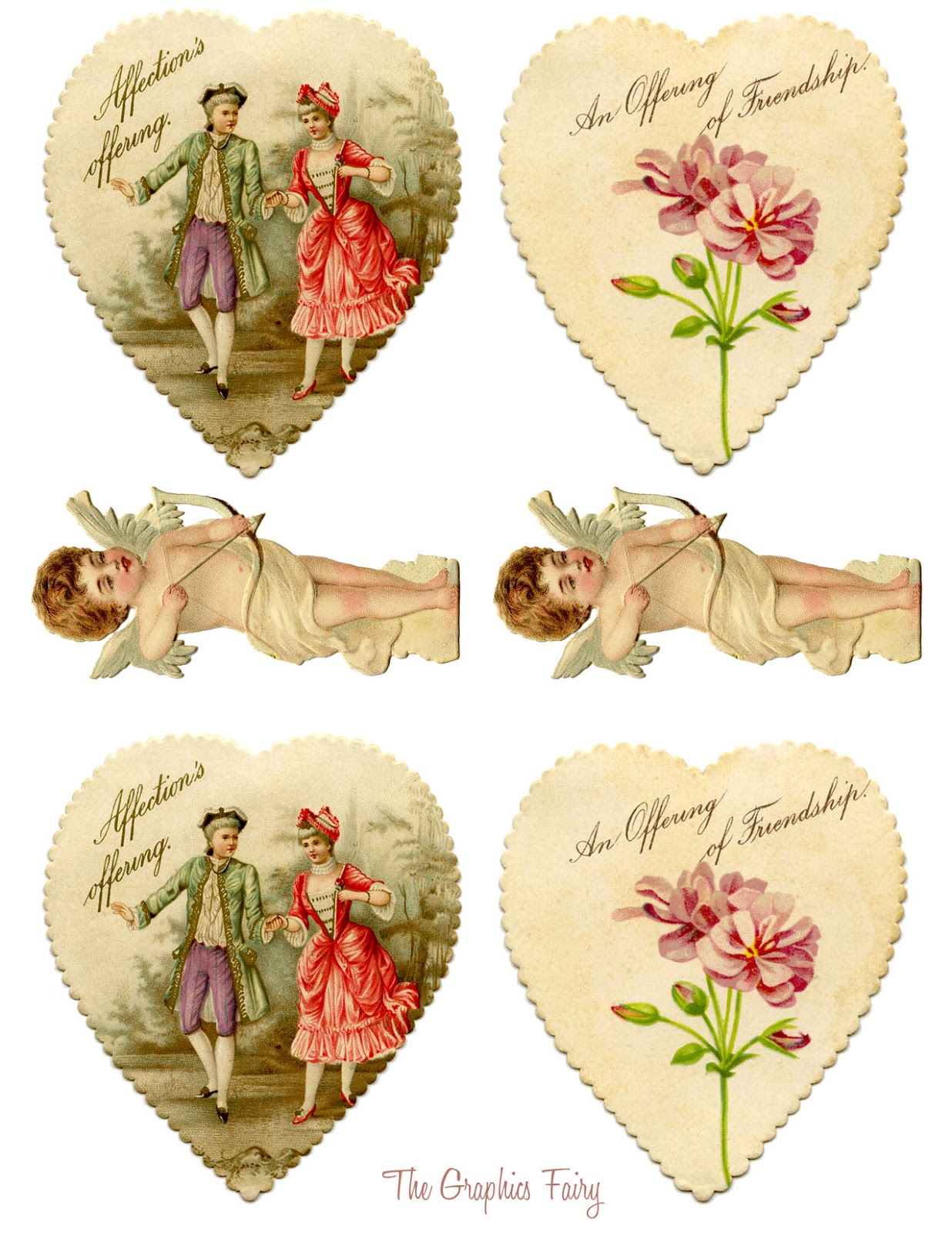 Vintage Valentine Printable Heart Garland With Cupids