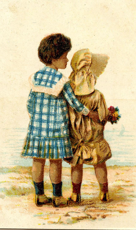 Vintage Graphic Sweet Black Children Sunbonnet The
