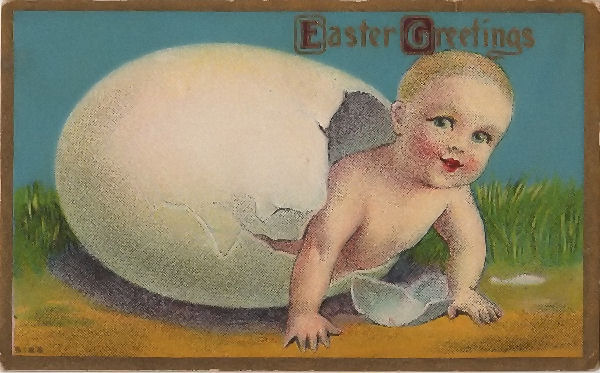 Vintage Postcard Easter Egg Baby The Graphics Fairy
