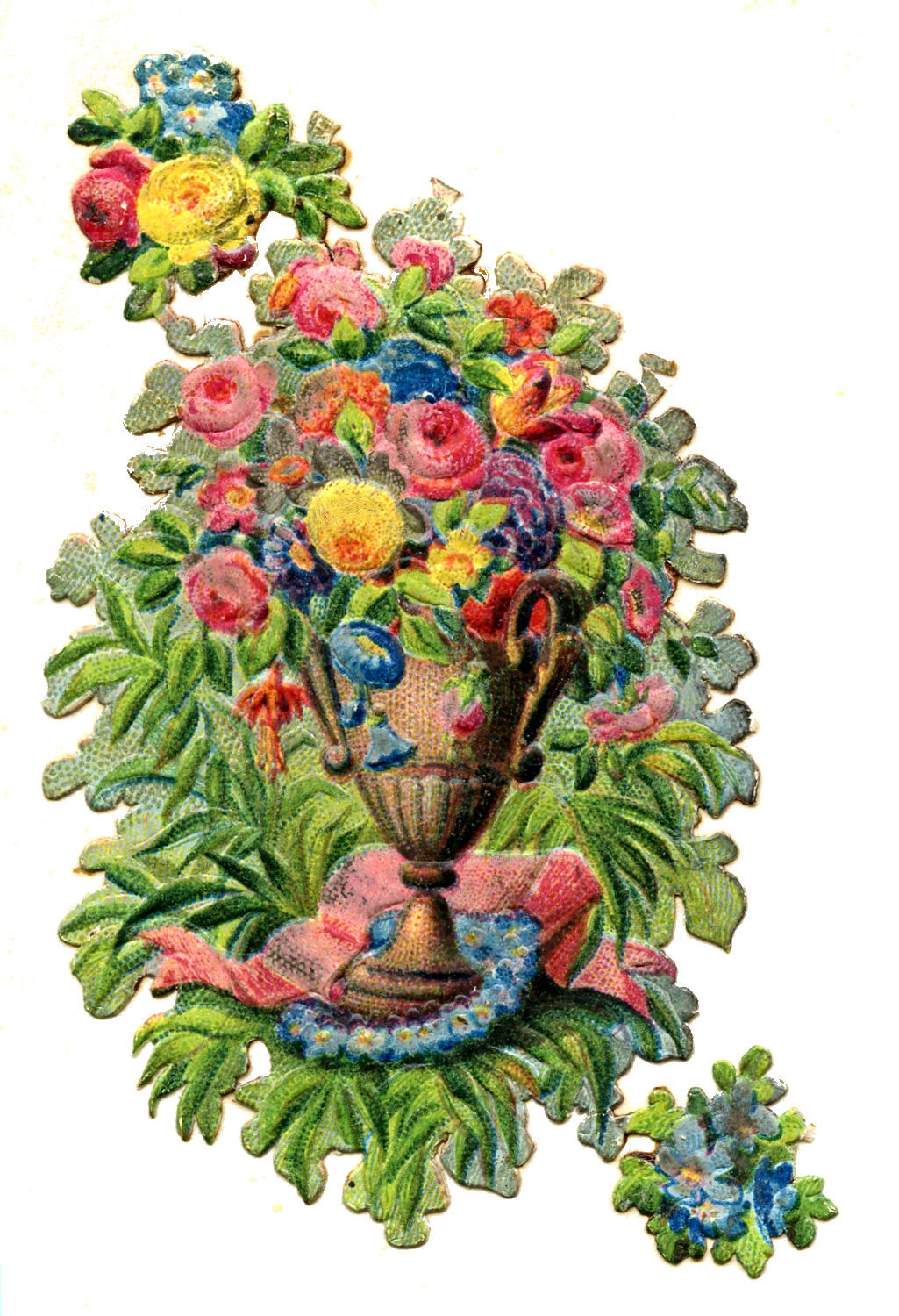 Vintage Clip Art Scrap Urn With Flowers The Graphics Fairy