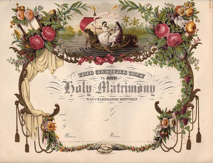 Amazing Victorian Blank Marriage Certificate The