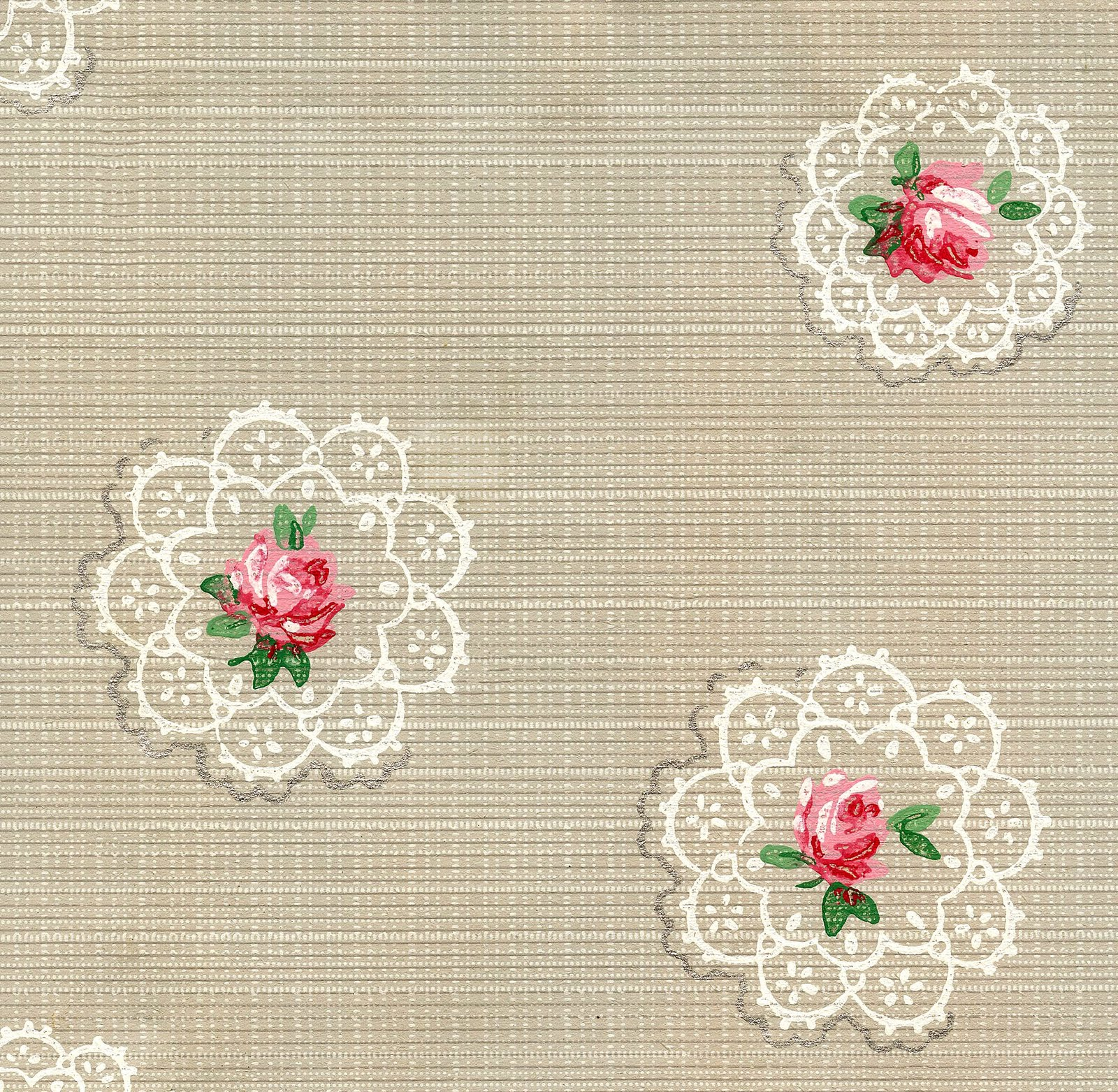 The Graphics Fairy - Random Doilies and Roses Vintage Wallpaper