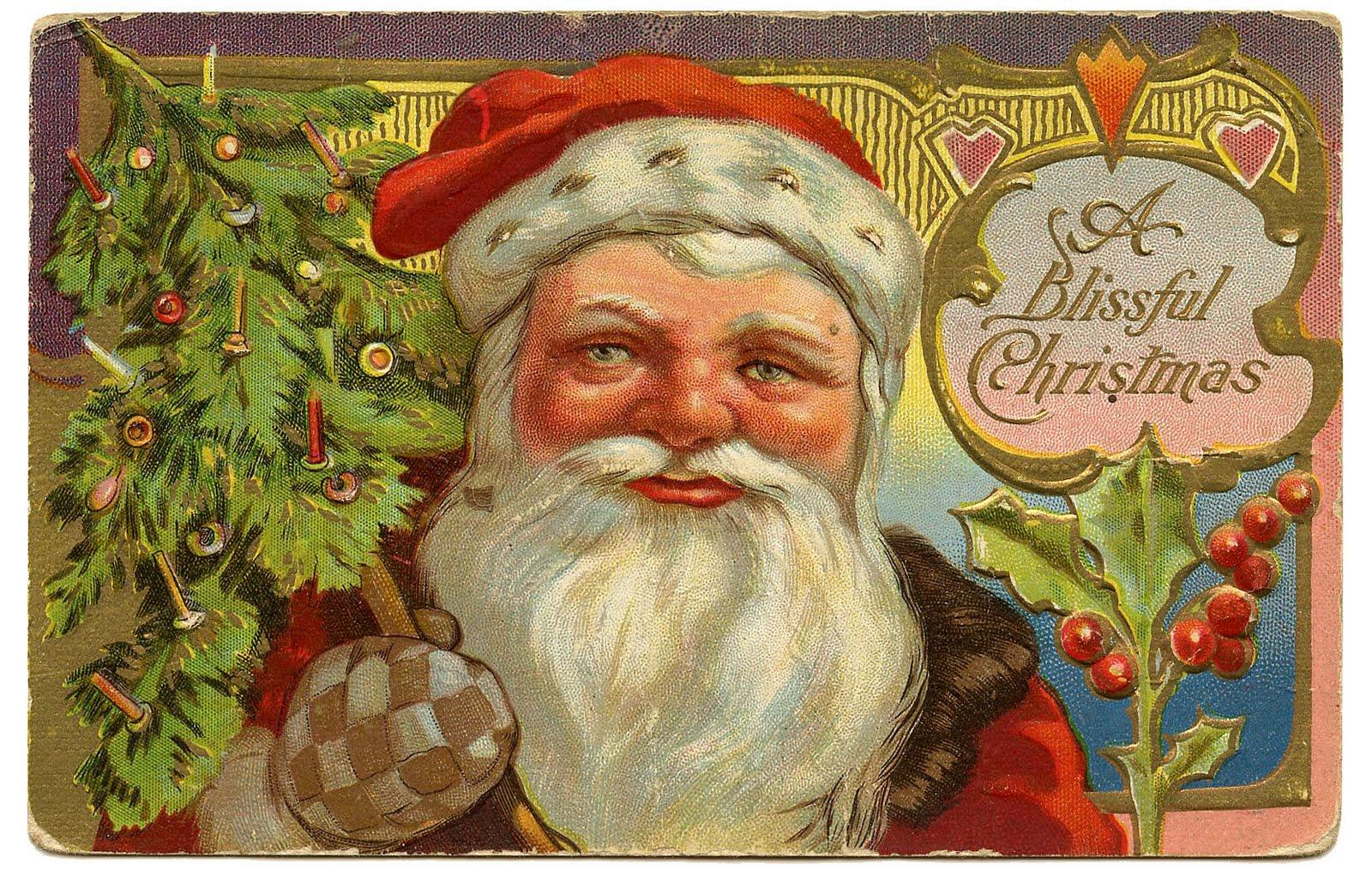 Vintage Christmas Clip Art Victorian Santa With Tree
