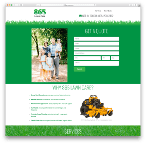 865 Lawn Care website