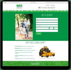 865 Lawn Care website
