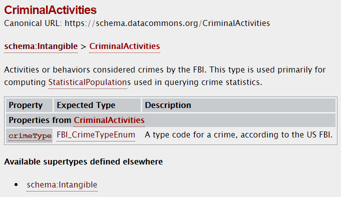 The CriminalActivities type on schema.datacommons.org