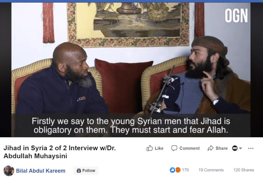 Bilal Abdul Kareem Muhaysini jihad obligatory