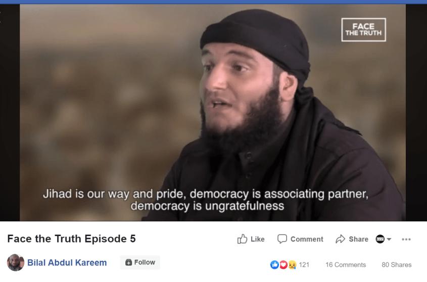 Bilal Abdul Kareem jihad democracy Facebook