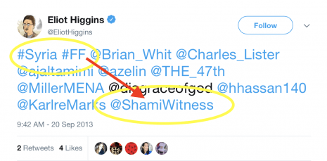 Eliot Higgins ShamiWitness FF tweet