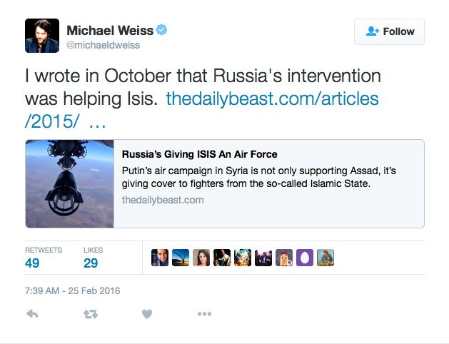 Michael Weiss Russia helping ISIS