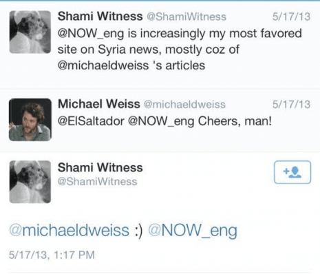 Michael Weiss ShamiWitness cheers