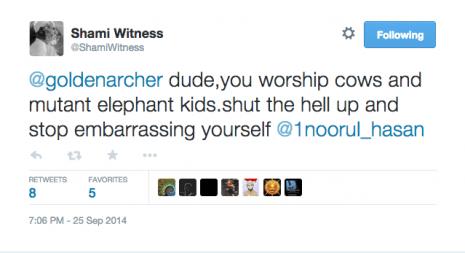 ShamiWitness worship cows tweet