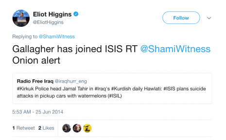 eliot higgins shamiwitness joke tweet