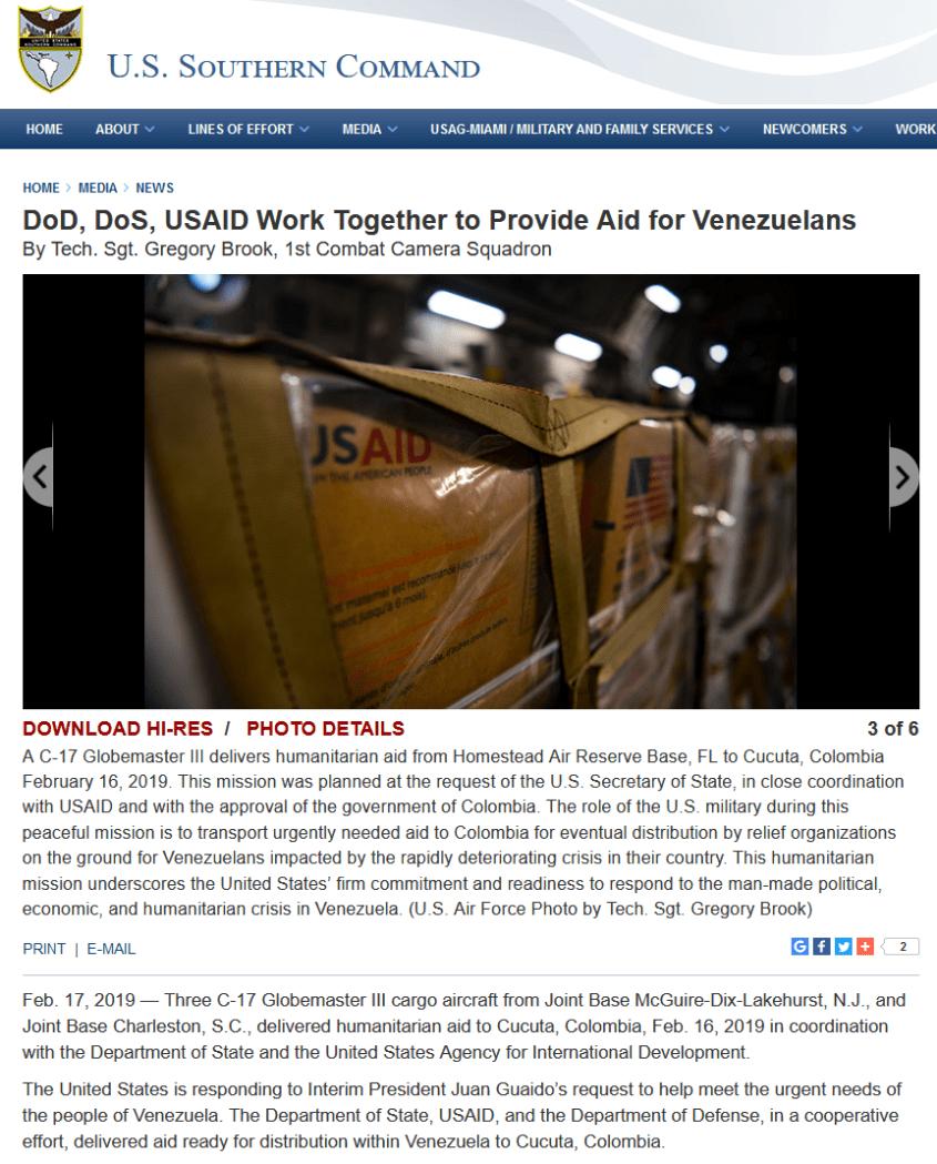 USAID military DOD DOS Southcom Venezuela aid coup