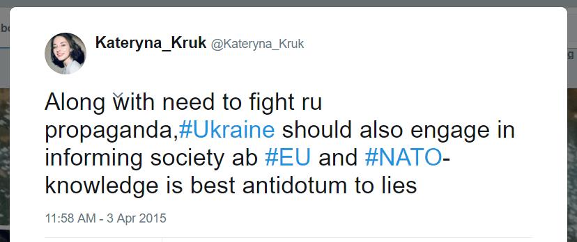 Kateryna Kruk Twitter EU NATO propaganda