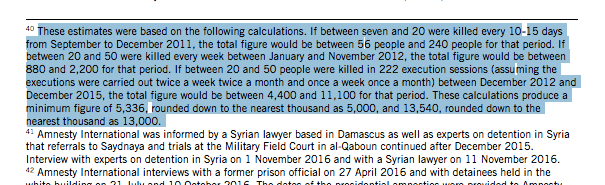 The footnote where Amnesty admits that its Saydnayah death toll is based on hypothetical mathematical calculations