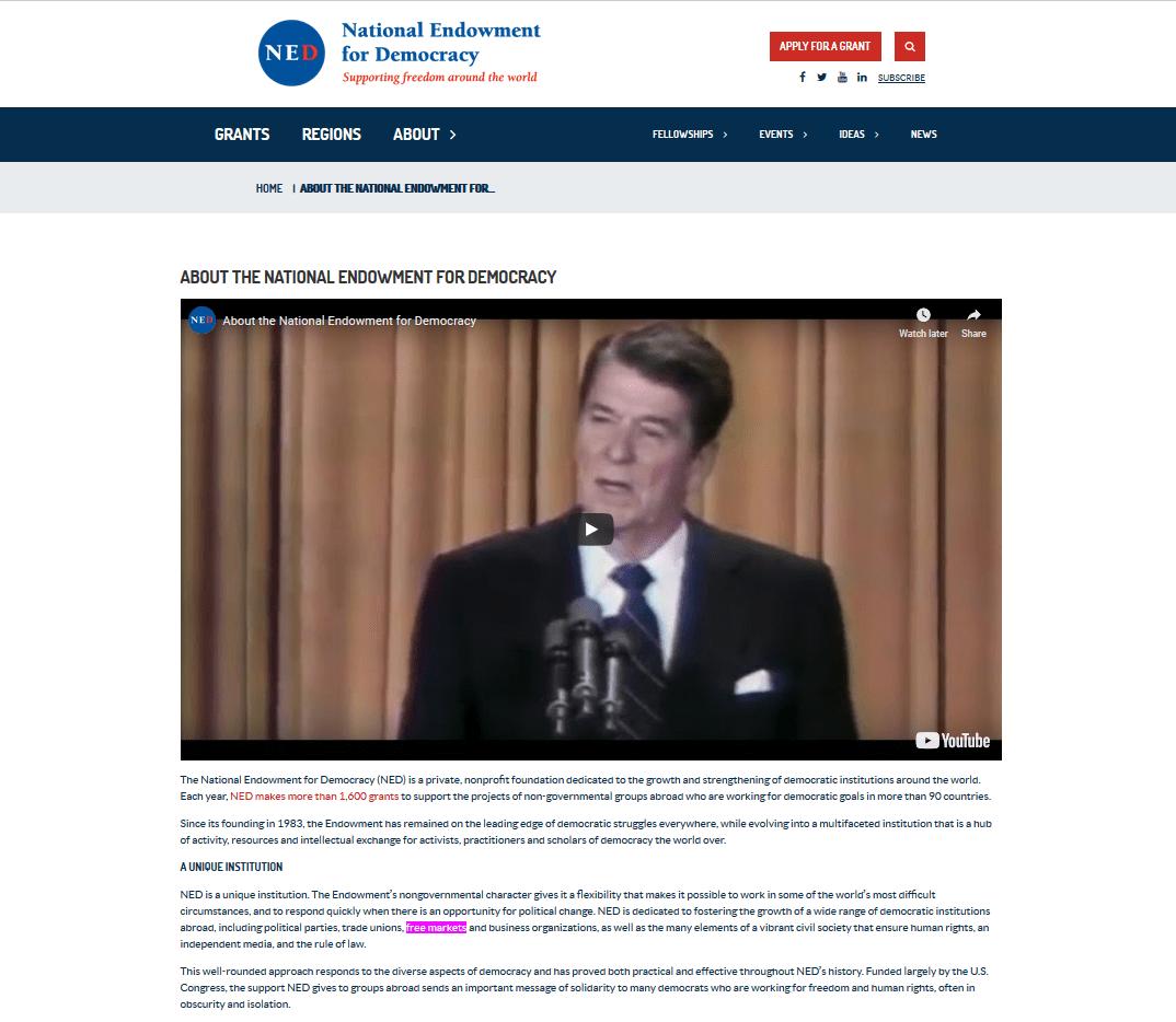 NED Ronald Reagan free markets