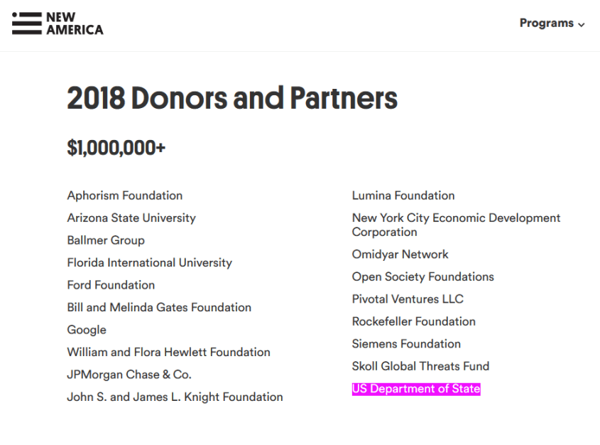 New America Foundation funding US State Department