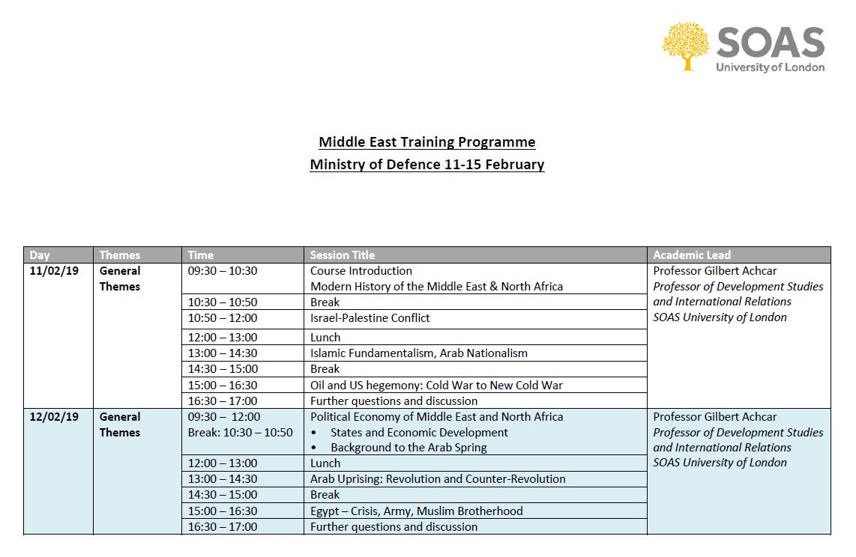SOAS Ministry of Defence training Gilbert Achcar Feburary 2019