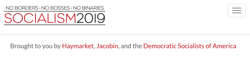 Socialism 2019 sponsors Haymarket Jacobin DSA