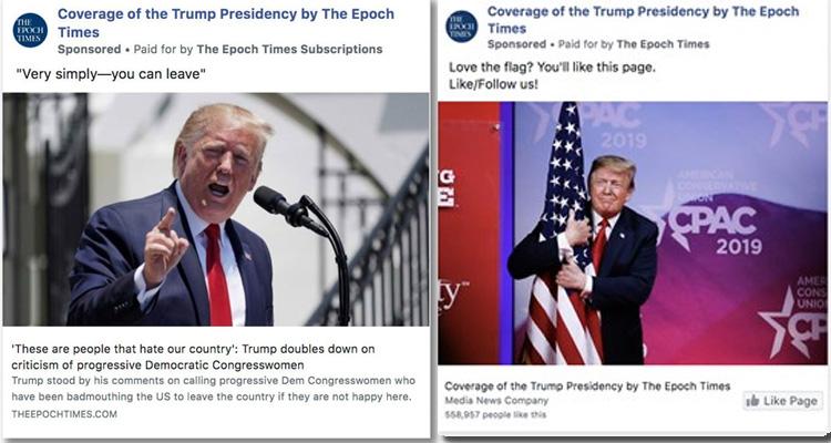 Epoch Times Trump Facebook ads Falun Gong