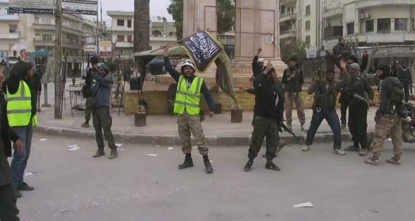 White Helmets jihadists Idlib Syria flag