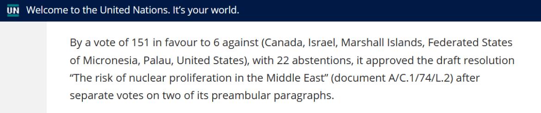 UN nuclear proliferation Middle East vote 2019